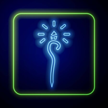 Glowing neon Magic wand icon isolated on blue background. Magic wand, scepter, stick, rod. Vector Illustration
