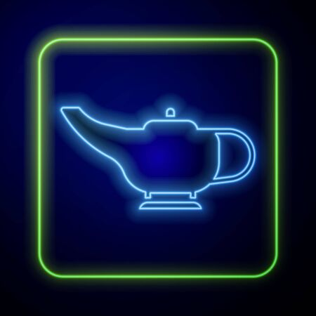 Glowing neon Magic lamp icon isolated on blue background. Spiritual lamp for wish. Vector Illustration