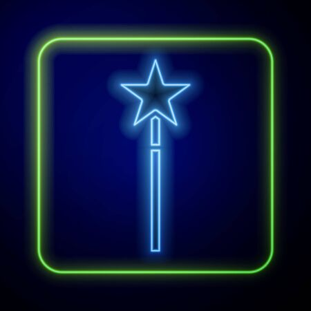 Glowing neon Magic wand icon isolated on blue background. Star shape magic accessory. Magical power. Vector Illustration
