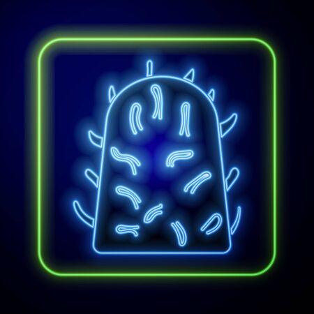 Glowing neon Rabies virus disease microorganisms icon isolated on blue background Illustration