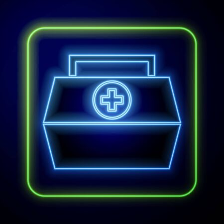 Glowing neon First aid kit icon isolated on blue background. Medical box with cross. Medical equipment for emergency. Healthcare concept