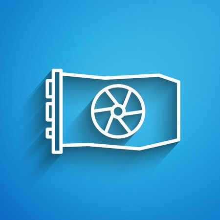 White line Video graphic card icon isolated on blue background. Long shadow. Vector Illustration Vectores