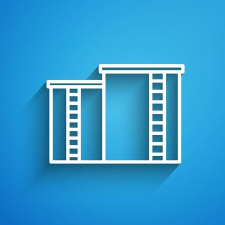 White line Oil and gas industrial factory building icon isolated on blue background. Long shadow. Vector Illustration