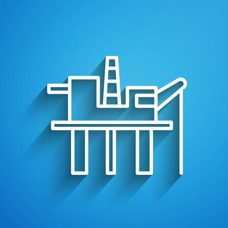 White line Oil platform in the sea icon isolated on blue background. Drilling rig at sea. Oil platform, gas fuel, industry offshore. Long shadow. Vector Illustration Иллюстрация