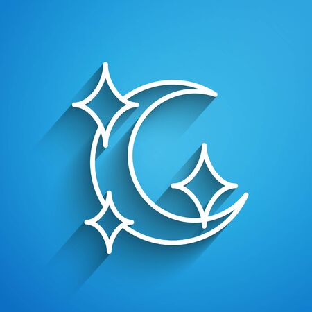 White line Moon and stars icon isolated on blue background. Long shadow. Vector Illustration