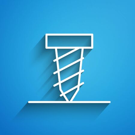 White line Rotating drill digging a hole in a ground icon isolated on blue background. Long shadow. Vector Illustration