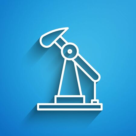 White line Oil pump or pump jack icon isolated on blue background. Oil rig. Long shadow. Vector Illustration Иллюстрация