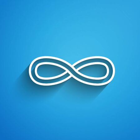 White line Function mathematical symbol icon isolated on blue background. Long shadow. Vector Illustration Иллюстрация