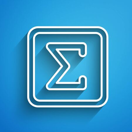 White line Geometric figure Square icon isolated on blue background. Abstract shape. Geometric ornament. Long shadow