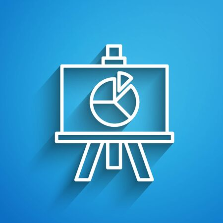 White line XYZ Coordinate system icon isolated on blue background. XYZ axis for graph statistics display. Long shadow. Vector Illustration