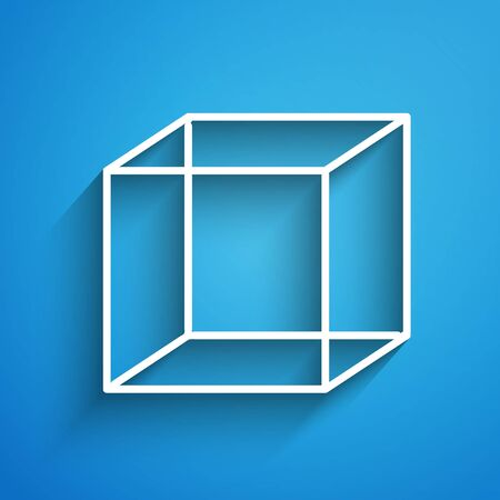 White line Function mathematical symbol icon isolated on blue background. Long shadow