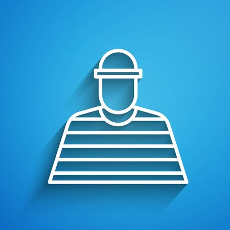 White line Prisoner icon isolated on blue background. Long shadow. Vector Illustration