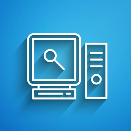 White line Search on computer screen icon isolated on blue background. Screen and magnifying glass. Long shadow. Vector Illustration
