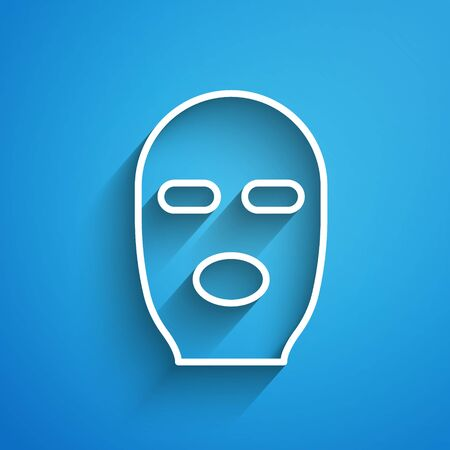 White line Thief mask icon isolated on blue background. Bandit mask, criminal man. Long shadow. Vector Illustration Çizim