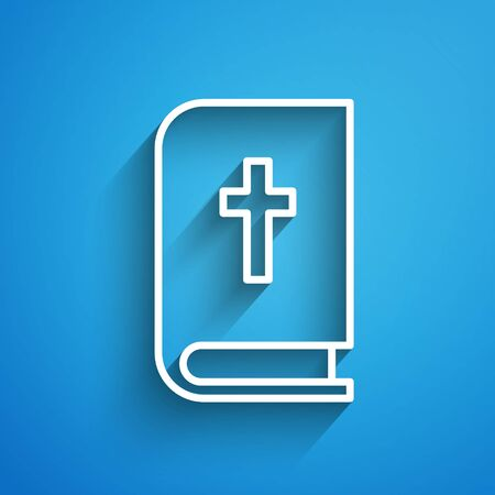 White line Holy bible book icon isolated on blue background. Long shadow