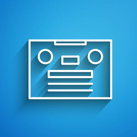 White line Retro audio cassette tape icon isolated on blue background. Long shadow
