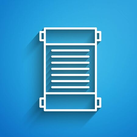 White line Decree, paper, parchment, scroll icon icon isolated on blue background. Long shadow