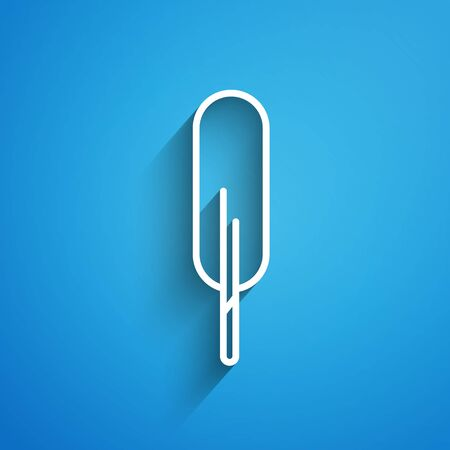 White line Feather pen icon isolated on blue background. Long shadow Illustration
