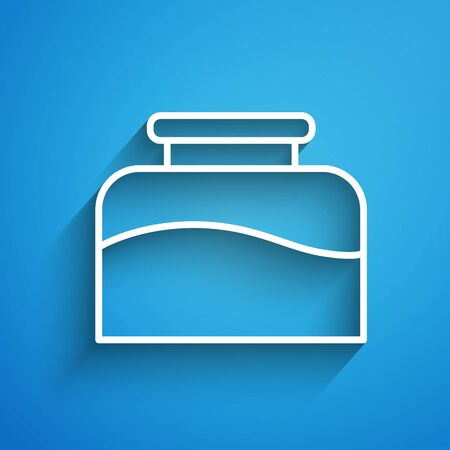 White line Inkwell icon isolated on blue background. Long shadow Illustration