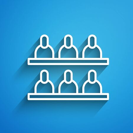 White line Jurors icon isolated on blue background. Long shadow