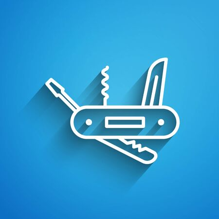 White line multifunction knife icon isolated on blue background. Multi-tool, multipurpose penknife. Multifunctional tool. Long shadow
