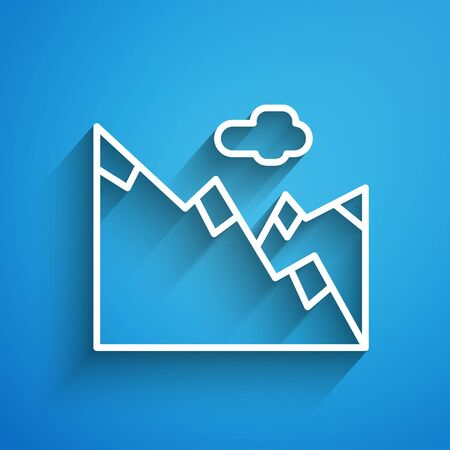 White line Mountains icon isolated on blue background. Symbol of victory or success concept. Long shadow Ilustração