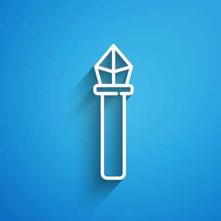White line Magic wand icon isolated on blue background. Magic wand, scepter, stick, rod. Long shadow