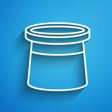 White line Magician hat icon isolated on blue background. Magic trick. Mystery entertainment concept. Long shadow