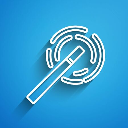 White line Magic wand icon isolated on blue background. Star shape magic accessory. Magical power. Long shadow