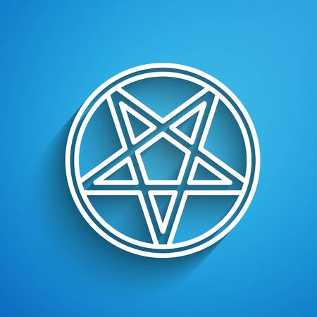 White line Pentagram in a circle icon isolated on blue background. Magic occult star symbol. Long shadow