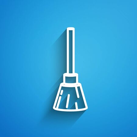 White line Witches broom icon isolated on blue background. Happy Halloween party. Long shadow