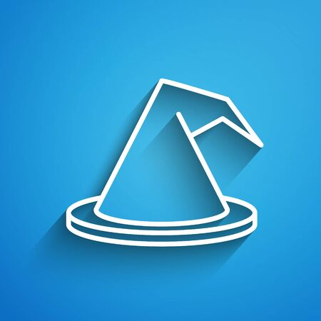 White line Witch hat icon isolated on blue background. Happy Halloween party. Long shadow