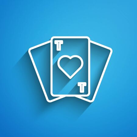 White line Playing cards icon isolated on blue background. Casino gambling. Long shadow