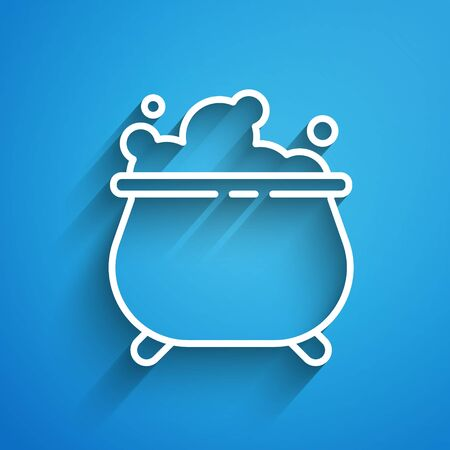 White line Witch cauldron icon isolated on blue background. Happy Halloween party. Long shadow Иллюстрация