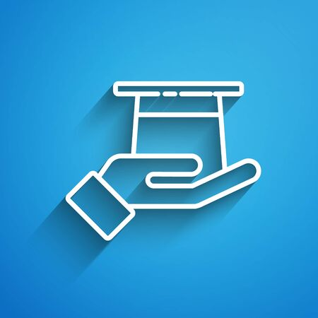White line Magician hat in hand icon isolated on blue background. Magic trick. Mystery entertainment concept. Long shadow Иллюстрация
