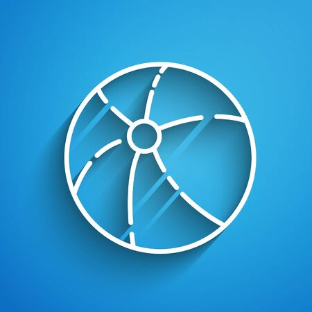 White line Beach ball icon isolated on blue background. Long shadow