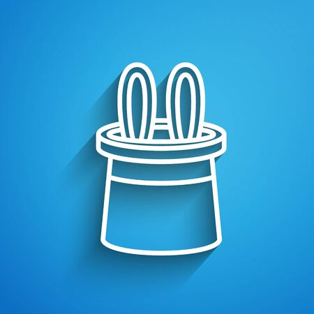 White line Magician hat and rabbit ears icon isolated on blue background. Magic trick. Mystery entertainment concept. Long shadow