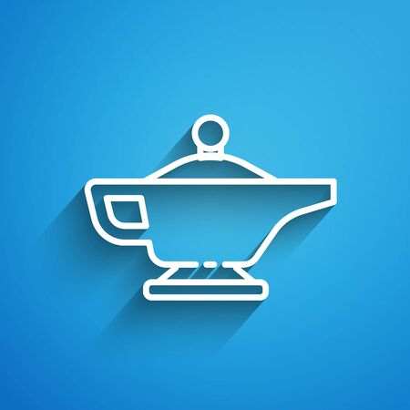 White line Magic lamp icon isolated on blue background. Spiritual lamp for wish. Long shadow Ilustrace