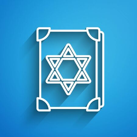 White line Ancient magic book with alchemy recipes and mystic spells and enchantments icon isolated on blue background. Long shadow Иллюстрация