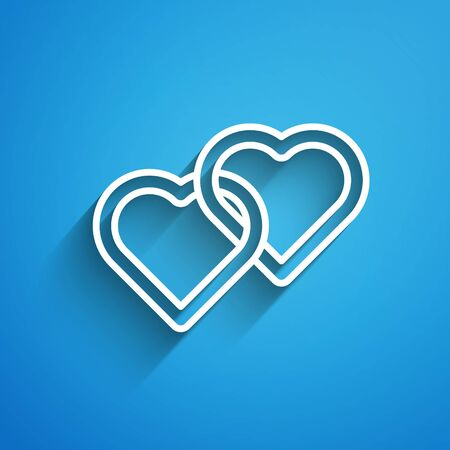 White line Two Linked Hearts icon isolated on blue background. Romantic symbol linked, join, passion and wedding. Happy Women Day. Long shadow