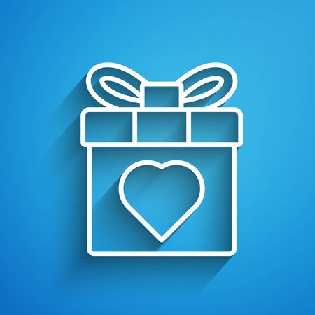 White line Gift box and heart icon isolated on blue background. 8 March. International Happy Women Day. Long shadow 矢量图像