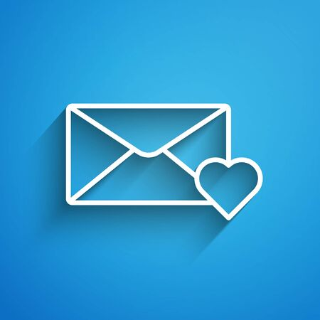 White line Envelope with 8 March icon isolated on blue background. Message love. Letter love and romance. International Happy Women Day. Long shadow 矢量图像
