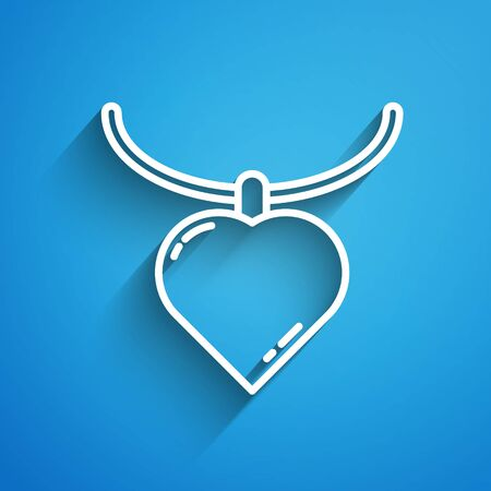 White line Necklace with heart shaped pendant icon isolated on blue background. Jewellery decoration. International Happy Women Day. Long shadow