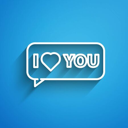 White line Speech bubble with text I love you icon isolated on blue background. 8 March. International Happy Women Day. Long shadow 矢量图像
