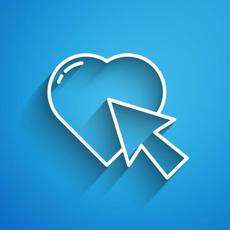 White line Heart and cursor click icon isolated on blue background. Online dating. Click on like button. International Happy Women Day. Long shadow
