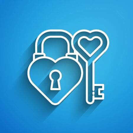 White line Castle lock in the shape of a heart and key in heart shape icon isolated on blue background. Love symbol and keyhole sign. Long shadow