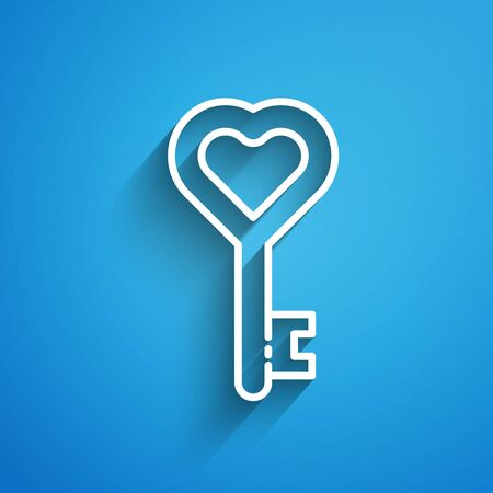 White line Key in heart shape icon isolated on blue background. 8 March. International Happy Women Day. Long shadow