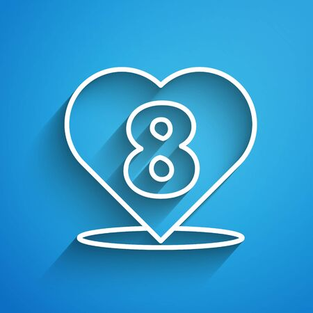 White line Heart with 8 March icon isolated on blue background. Romantic symbol linked, join, passion and wedding. Happy Women Day. Long shadow