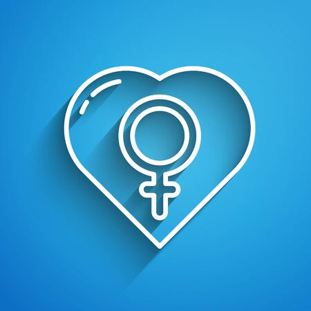 White line Female gender in heart icon isolated on blue background. Venus symbol. The symbol for a female organism or woman. Long shadow