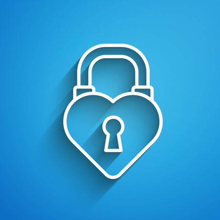 White line Castle lock in the shape of a heart icon isolated on blue background. Love symbol and keyhole sign. 8 March. Happy Women Day. Long shadow Illustration